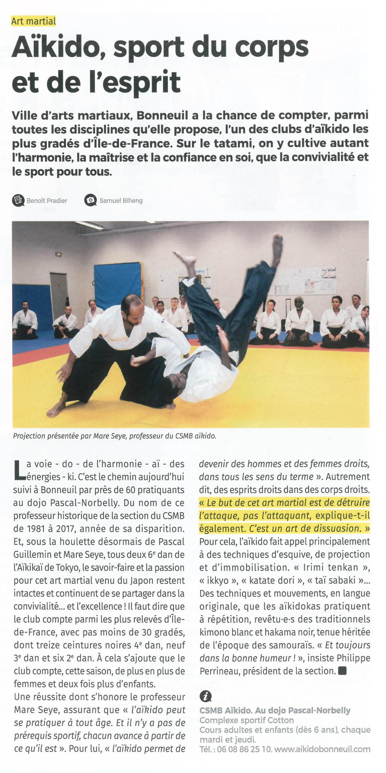 Article dans B/M, magazine de la ville de Bonneuil sur Marne. Par Benoît Pradier et Samuel Biheng (image). Rubrique « temps libre », p. 34 (décembre 2019).